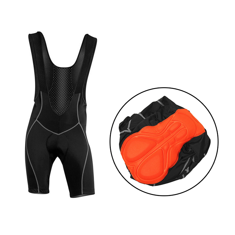 WOSAWE Gel Paded Black Cycling Shorts Pants Bicycle Bike Bibs Clothes Cycle Wear Clothing 3D Coolmax Braces Shockproof Tights