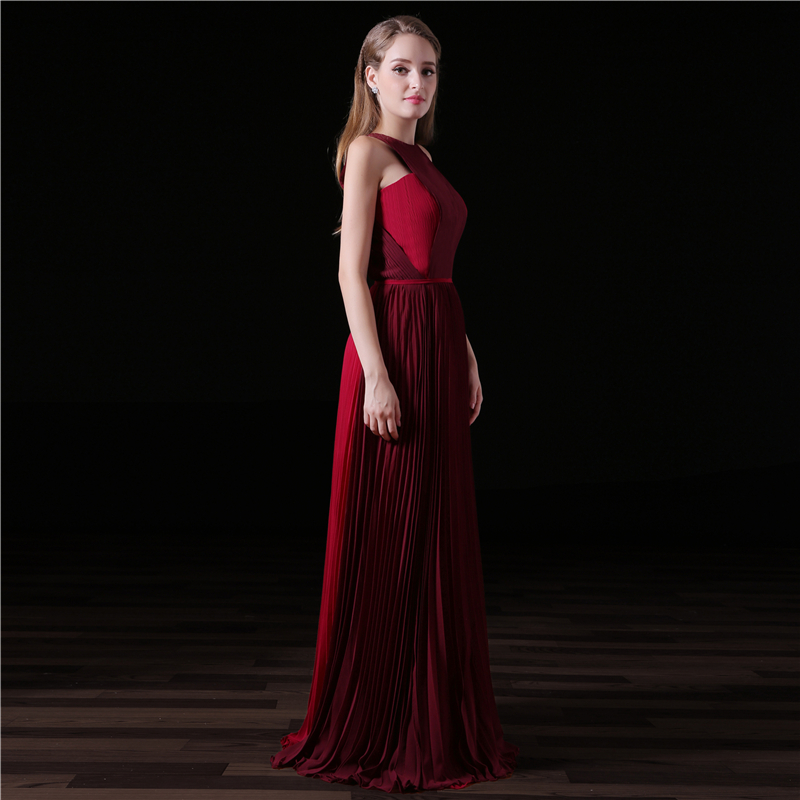 Cheap Long Evening Dresses 2018 A Line Halter Floor Length Pleat Prom Dress Side Split Chiffon Evening Gown Vestido De Festa