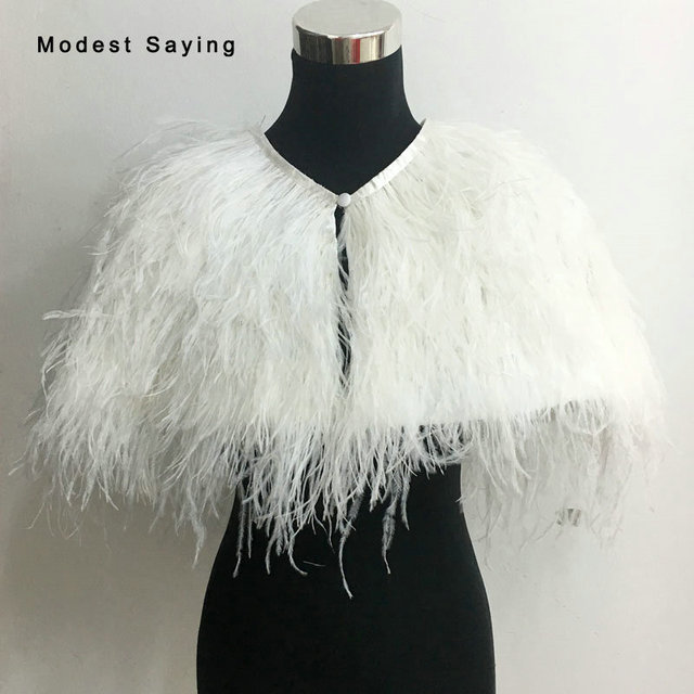 79ffc95cf777 Luxury Ivory Fur Ostrich Feather Coats Wedding Boleros 2017 Bridal Jackets  Coat Wrap veste mariage femme Wedding Accessories B79