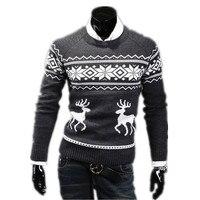 2015 En kaliteli Sonbahar Kış İnce Yuvarlak Boyun erkek kazak Şık Trendy kazak geyik desen Kazak Kazak