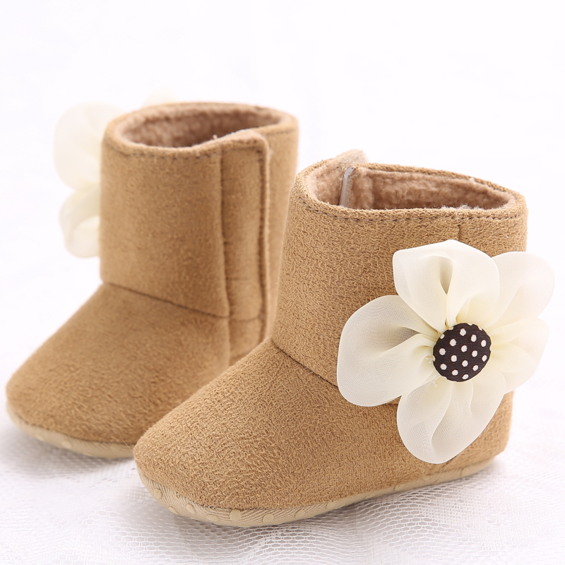 Wholesale 2015 Small Flower High-top Baby Girl Winter Warm Shoes Soft Bottom Comfortable Hot Selling Sole Home Baby Shoes