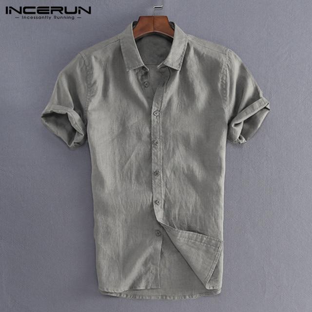 INCERUN Elegant S-5XL Male Tee Tops Casual Shirts Men Social Shirts Dress Button Turn Down Collar Slim Fit Men Clothes Camisa 3