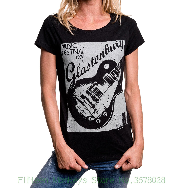 Women's Tee Womens Music Shirt With Hippie Guitar Design - Top Girl Rock Band Tee Short Sleeve Cotton Women