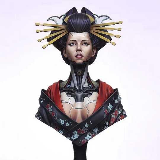 1/12 Scale Resin Bust Sexy Japanese Kimono Geisha Unpainted Figure Model Kit Free Shipping