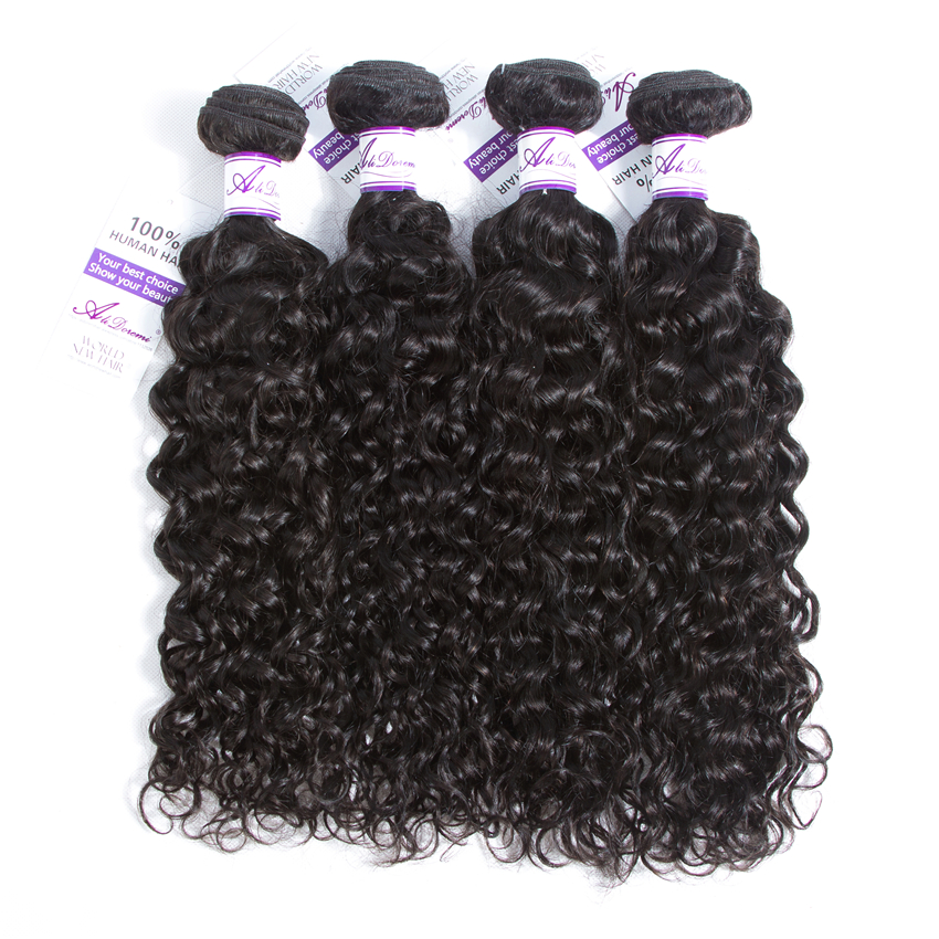 Alidoremi Malaysian Water Wave Hair 4 Pcs Human Hair Bundles