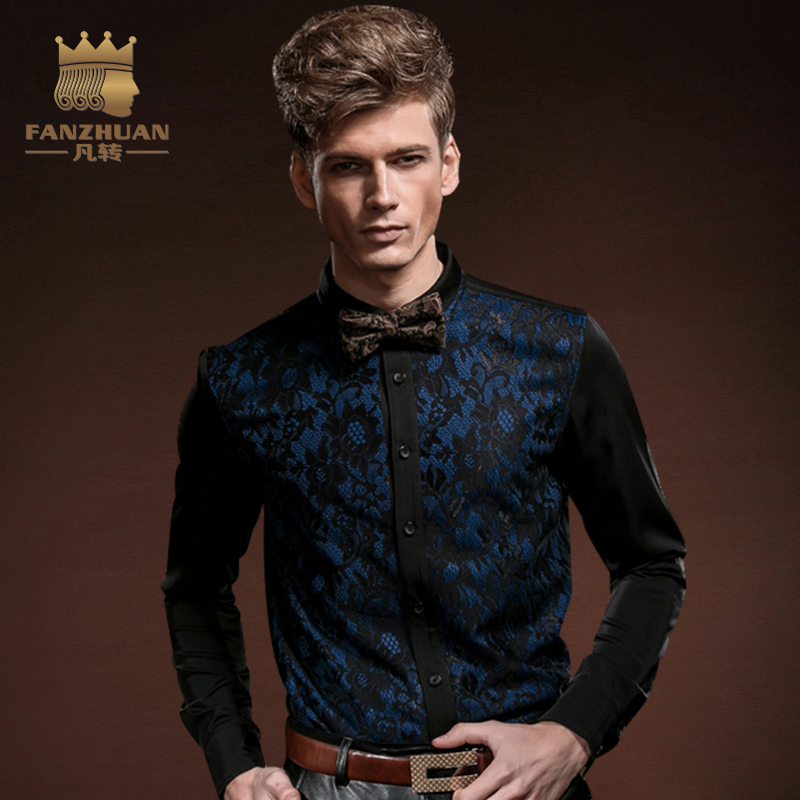 FANZHUAN Featured Brands Clothing Fashion Men's Gothic Shirt Punk Tuxedo Shirts With Lace Male Silk Blouses Top Dress Men M-5XL
