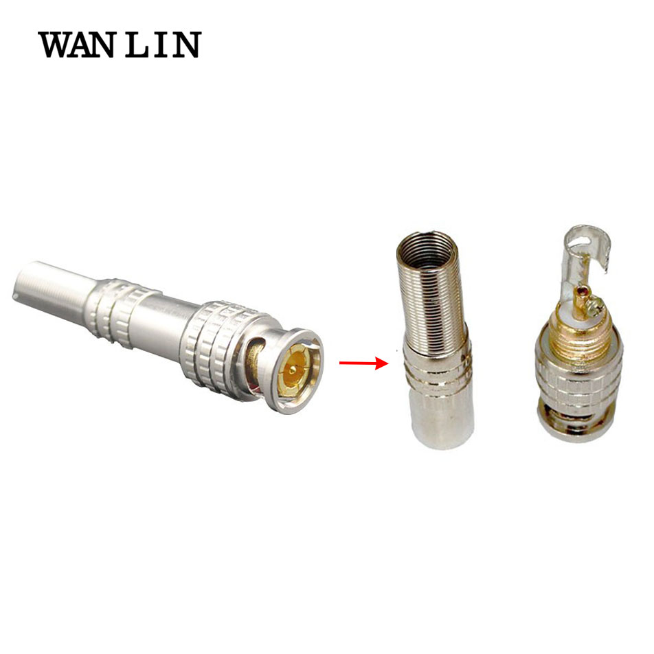 WANLIN 100Pcs a Lot CCTV Solder Less Twist Spring BNC Connector Jack for Coaxial RG59 Cable for Surveillance Accessories 50pcs lot cctv connector bnc connector bnc to av for cameras