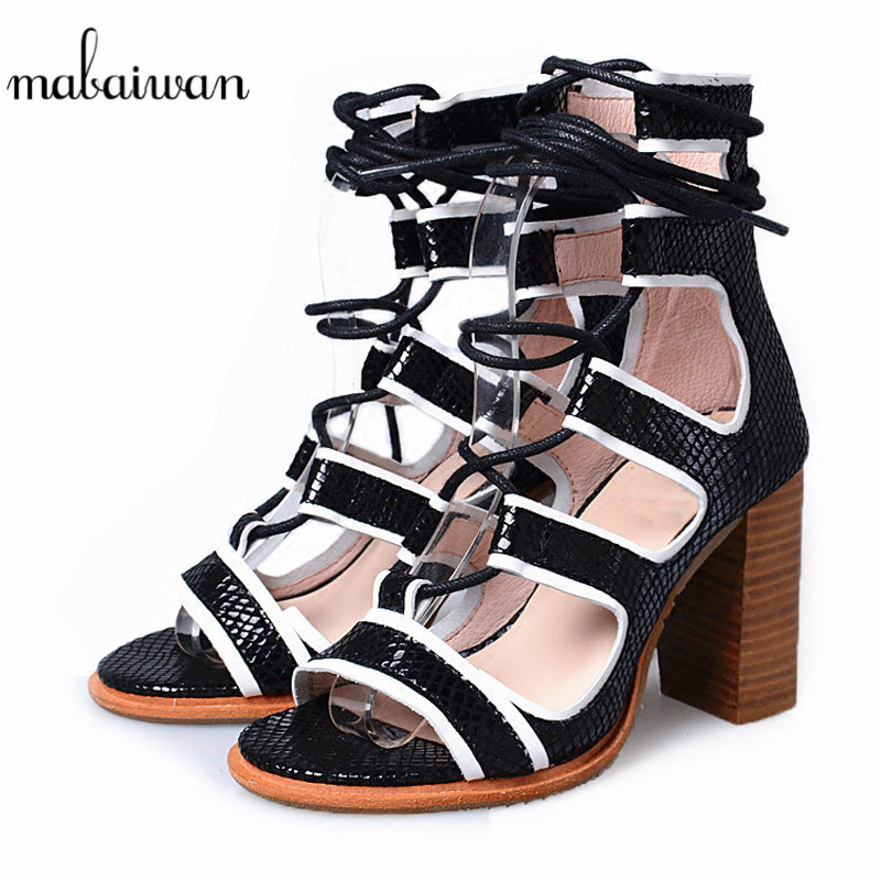 Mabaiwan Casual Women Shoes Ankle Strap Summer Sandals Flip Flops Thick High Heels Leather Wedding Shoes Women Slippers Pumps luxury brand crystal patent leather sandals women high heels thick heel women shoes with heels wedding shoes ladies silver pumps