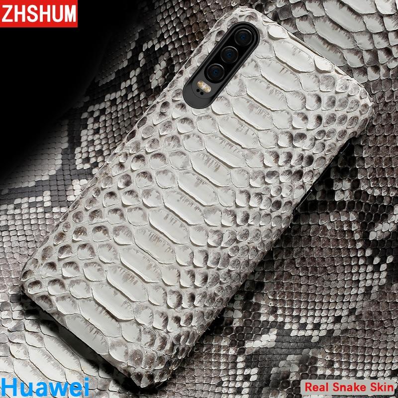 Véritable En Cuir de Serpent étui pour huawei P30 Pro P20 Lite P10 Python coque peau Fait Main Honor 10 9 Vue Note Mate 20 P 30 Couverture
