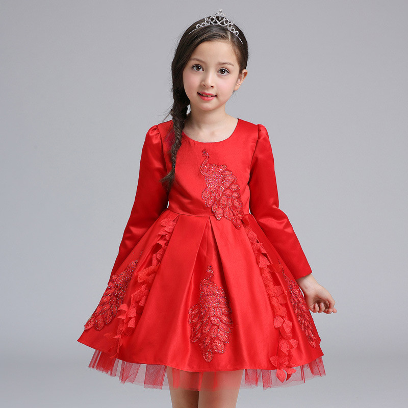 Chinese Style 2017 Autumn Girls Red Dress Long Sleeve Solid Christmas Princess Dresses Peacock Pattern Vestido Girl Clothes