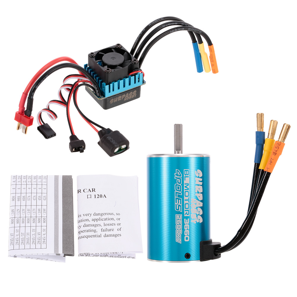 RC Car Motor 3660 2600KV Sensorless Brushless Motor 60A Brushless ESC for 1:10 RC Car Truck 1 10 80a adjustable sensored sensorless brushless esc for car truck