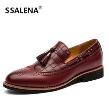 Men Tassel Leather Brogue Shoes Luxury Buisness Flats Dress Shoes For Male Wedding Formal Pointed Toe Oxfords Shoes AA20441