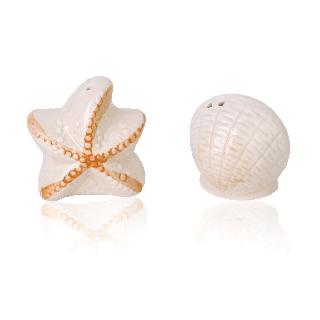 Ceramic salt and pepper shakers shaped shell and starfish wedding favors Light orange