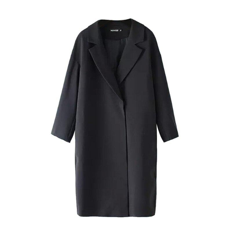 Autumn Women Outwear Coat Winter Solid Color Long Suit Collar Windbreaker Female Jacket Novelty Single Button Ladies