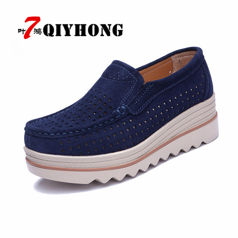 womenBreathable Hollow Out flats shoes platform sneakers shoes   leather     suede   casual shoes slip on flats heels creepers moccasins