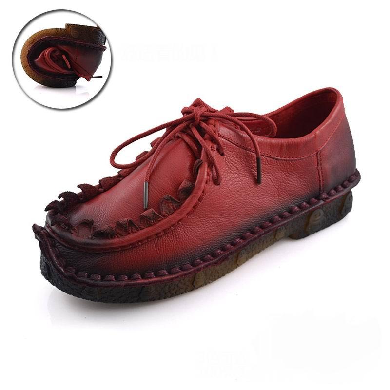 Printemps rouge En Semelle Noir marron Cuir Mocassins Chaussures À Molle  Vache Vintage Occasionnels Automne Appartements Véritable ... 4766e3e344f4