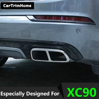 1 Pair Rear Exhaust Muffler Tail End Pipe Decorative Cover for Volvo XC90 rear exhaust stainless steel xc90 Accessories