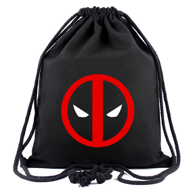 Animation Hero Deadpool Drawstring Canvas Backpack Organizer Pouch Drawstring Backpacks Gifts