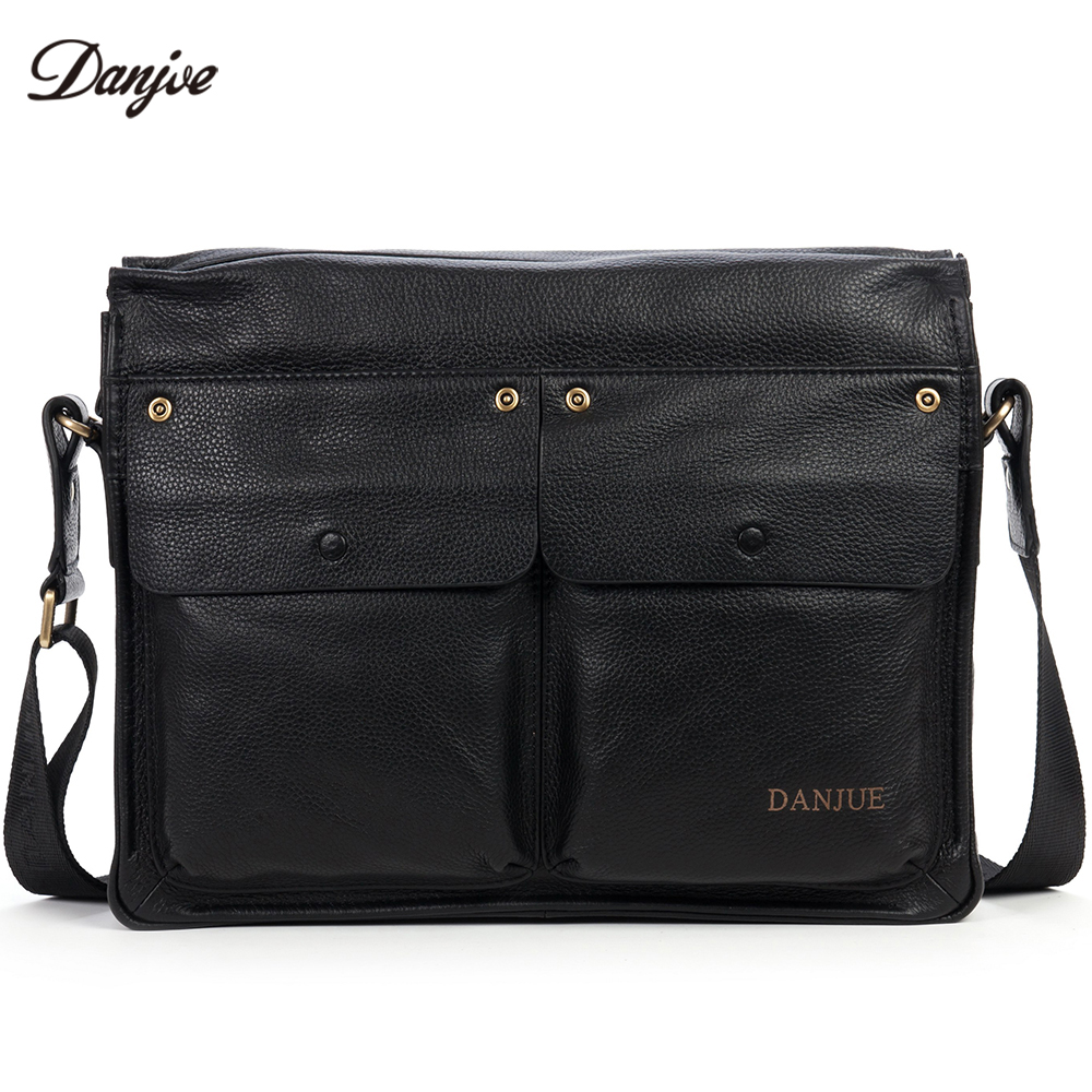 DANJUE Genuine Leather Business Men Briefcase Bag Male Fashion Real Leather Messenger Bag High Quality Men Travel Shoulder Bag danjue genuine leather men travel shoulder bag double zipper designer crossbody bag business fashion real leather briefcase bag