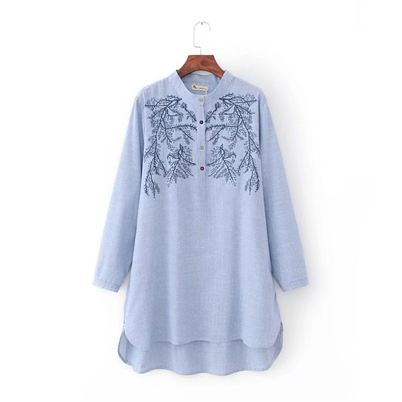 New womens tops and blouses women long sleeve blouse embroidery ...