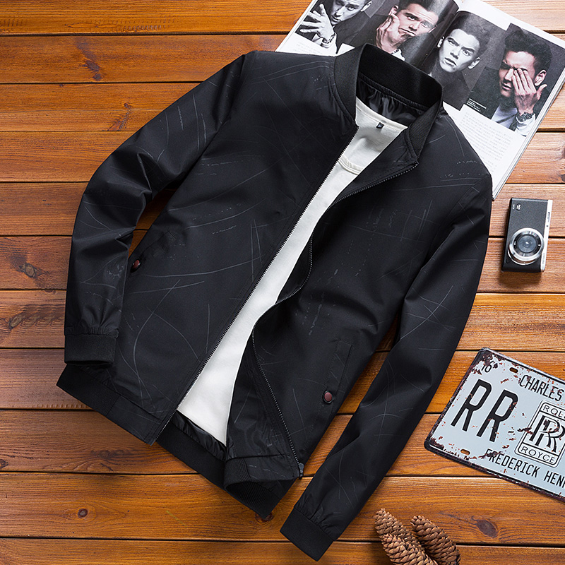 Autumn Spring Mens Casual Bomber Jacket Men Fashion Male Jacket Warm Jackets Slim Fit Casual Bomber Jacket Stand Collar Overcoat