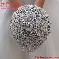 WifeLai супер блестящий падения Стразы Букеты свадебные, Великолепный Букет невесты кристалла прочный тяжелых Diamond жениться цветы W2117