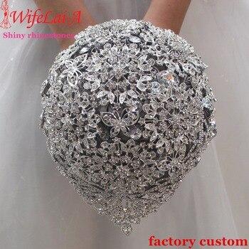 363af31cdecd1 WifeLai-bir süper parlak bırak Rhinestones düğün buket, muhteşem kristal  gelin buketi dayanıklı ağır elmas evlenmek çiçekler W2117