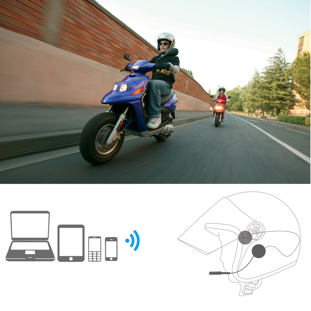 VODOOL Motorcycle Helmet Headset Speakers Mic 10M Bluetooth Handsfree Music Control With FM Radio For iPod Pad Smart Phone
