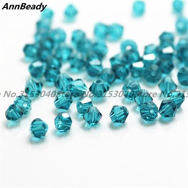 100 pcs Bleu Paon Couleur 4mm Perles De Cristal Bicone Perles de Verre Perles D'espacement Lâche BRICOLAGE Fabrication De Bijoux En Cristal D'autriche perles