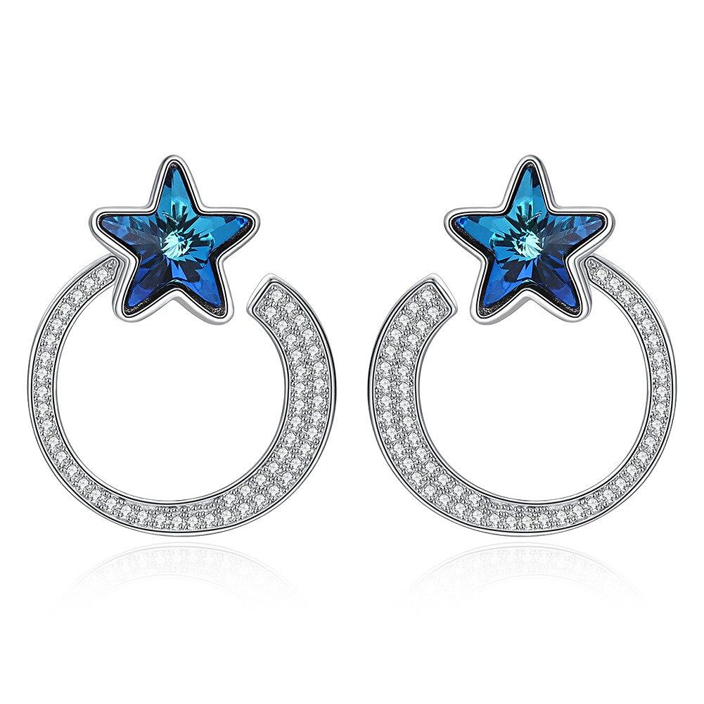 Nouveauté Top qualité pur 925 en argent sterling stud pour femmes grand cercle rond épais avec lien en pierre de cristal boucle d'oreille étoile bleue