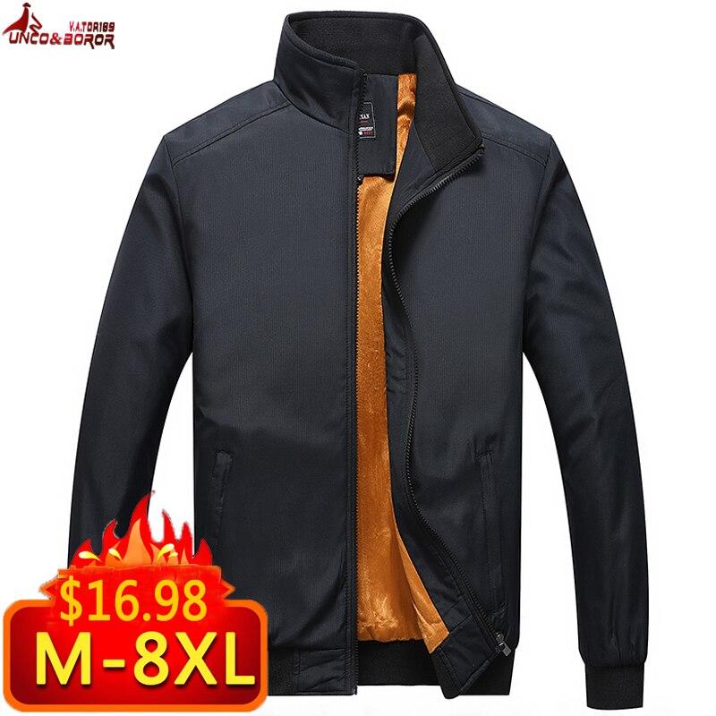 Plus Size 6XL 7XL 8XL Winter Jacket Men Casual Thick Fleece Warm Man Jacket Sportswear Bomber Jacket Mens Jackets And Coats