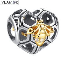 VEAMOR Honeybee & Honeycomb Charms Fit Original Pandora Charm Bracelets 925 Sterling Silver & Gold Color Queen Bee Heart Beads