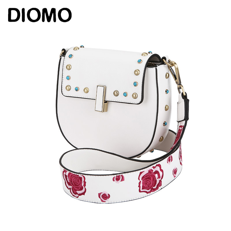 DIOMO Saddle Bags for Women 2017 Embroidery Floral Strap Shoulder Bags for Girls High Quality Sling Bag White / Denim Blue