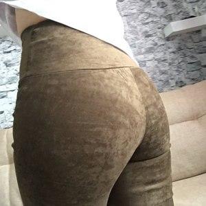 Image 5 - Весна Осень 2019, замшевые женские брюки с высокой талией, большие эластичные облегающие Кожаные Замшевые брюки в стиле ретро для женщин