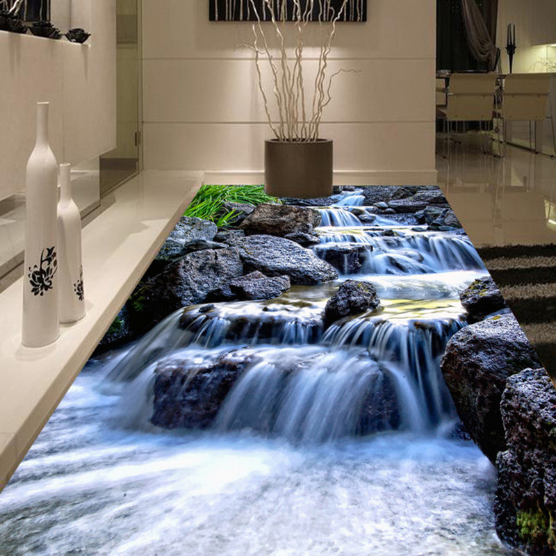 Photo Wallpaper 3D Waterfalls Rivers Stones Floor Tiles Painting Murals Living Room Bedroom Self Adhesive Waterproof Vinyl Mural