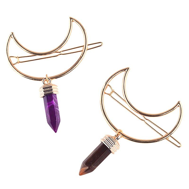 Sexemara Hairpins Barrettes Jewelry-Accessories Decoration Gold Purple Trendy Girls Women