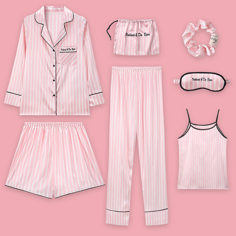 Pink Striped   Pajamas   Silk Satin Femme   Pajama     Set   7 Pieces Stitch lingerie Robe pyjamas   Sets   Women Sleepwear Homewear For Woman