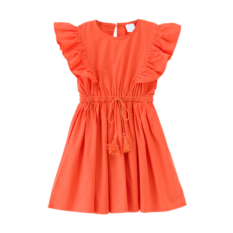 4 to 14 years kids & teenager girls summer solid color ruffle sleeve princess party dresses children cotton casual dress clothes layered pleated ruffle sleeve solid top