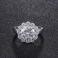 Sunflower Ring white gold plated wedding engagement ring for women Crystal Fashion Imitation Gemstone Jewelry