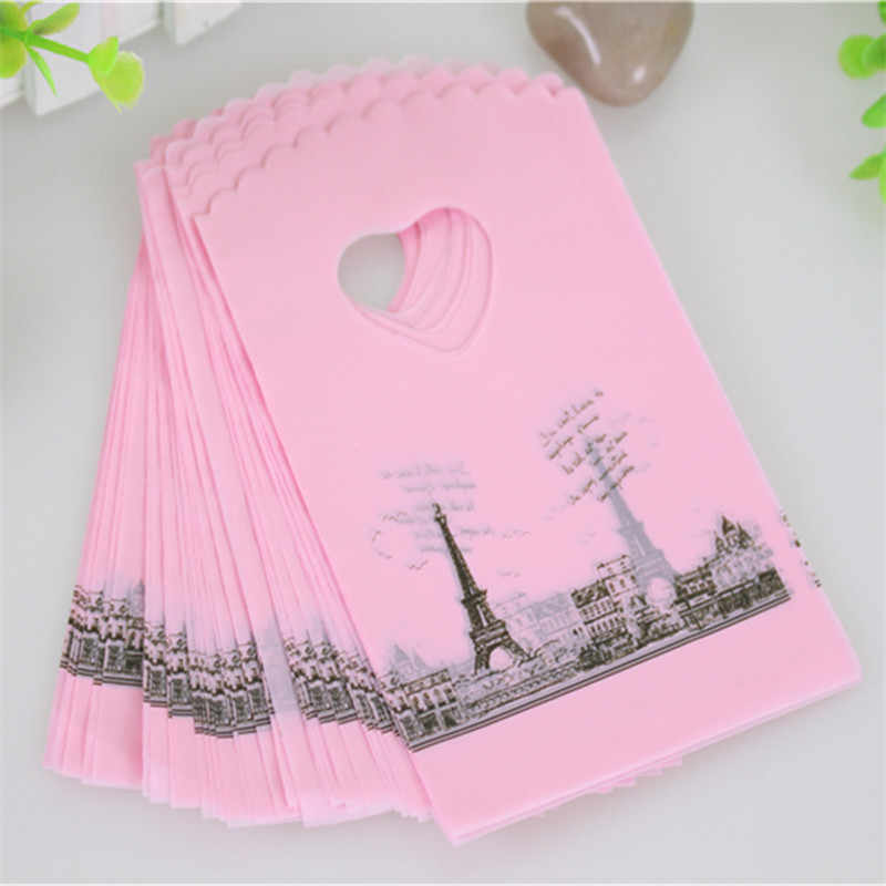 2019 Hot Sale Wholesale 50pcs/lot Pink Eiffel Tower Packaging Bags Plastic Shopping Bags With Handle Small Gift Bags
