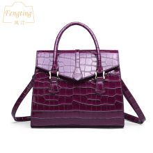 2019 фиолетовая полосатая Женская сумочка, модная Высококачественная женская сумка через плечо с откидным карманом, сумка тоут от известного бренда, Fengting FTB040