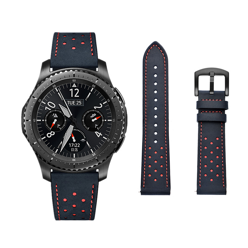 ASHEI 22mm Hole Style Leather Watchbands For Samsung Gear S3 Frontier/Classic Band For Gear S3 Watch Strap Wrist Bracelet Belt 22mm nylon watch band for samsung gear s3 classic frontier zulu fabric strap wrist belt bracelet black gray blue brown green