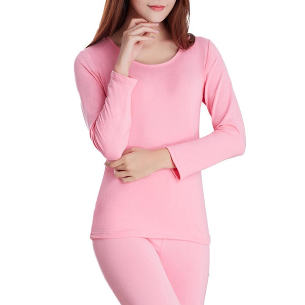 Women Solid Color High Elasticity Long Sleeve Thermal Underwear Top Pants Set