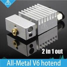 3D принтер цельнометаллический Циклоп Двойной Мульти-экструзии v5 v6 HotEndSingle Головка форсунки Междугородние Комплект для 1.75 мм/0.4 мм