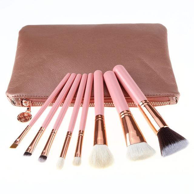 Pinceles de maquillaje 8 UNID Cosméticos Sombra de Ojos Eyeliner Brush Kit Juego Herramienta de maquillaje Rosa de Oro En Polvo Mezcla de Pincel Con Cuero de LA PU bolsa
