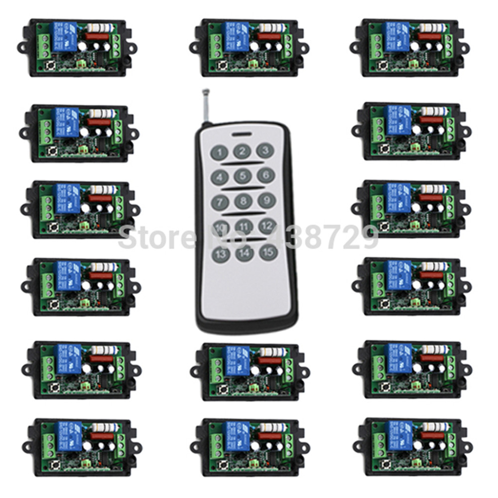 light switch wireless remote control 220v,15Ch RF on/off for light led for home automation 1 Transmitter And 15 Receiver-in Switches from Lights & Lighting    1