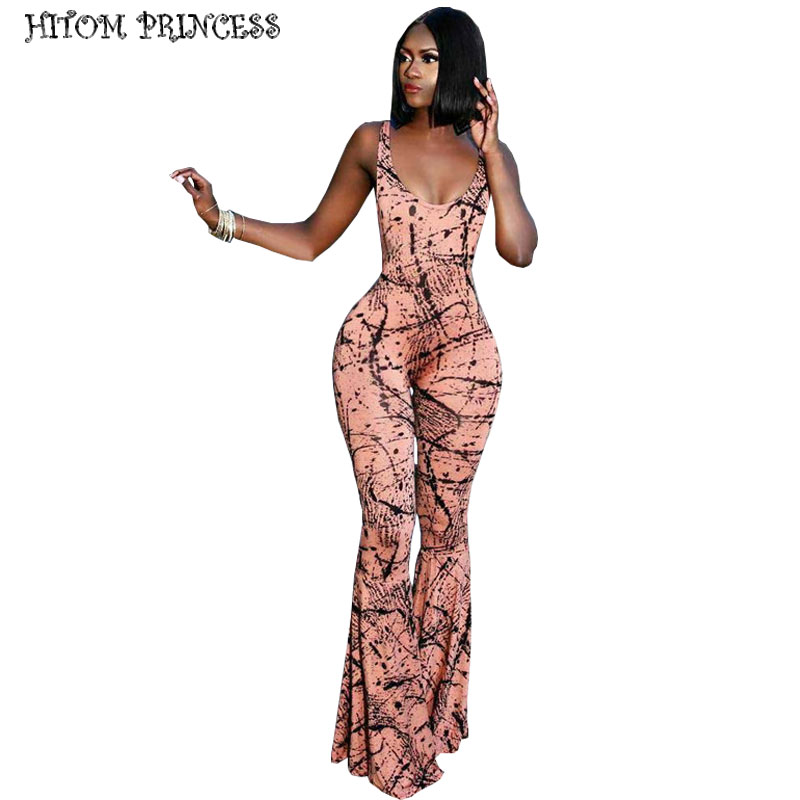 HITOM PRINCESS Sleeveless Print Sexy   Jumpsuit   For Women 2019 Wide Leg   Jumpsuit   Women Rompers Plus Size Skinny Overalls Clubwear