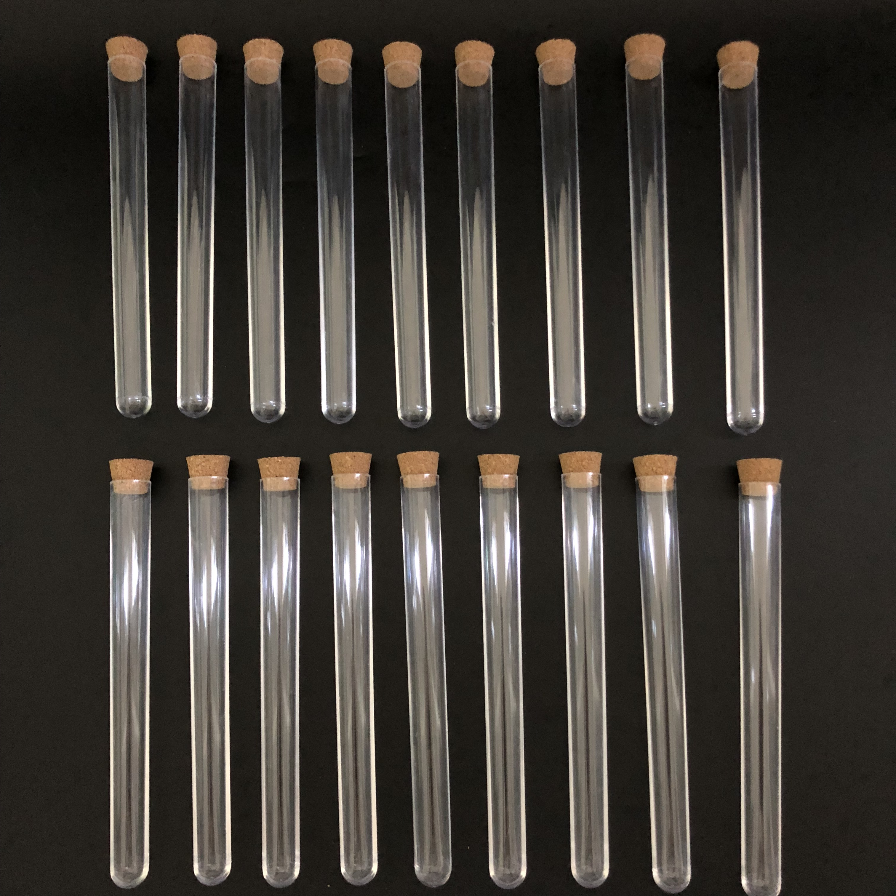 (10pcs/pack) 15x150mm Clear Plastic Test Tubes With Corks Stopper U-shape Bottem Used For Laboratory Or Wedding Vial