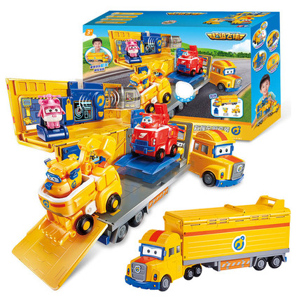 NEUE 2018 ABS Super Flügel Poppa Deluxe Mehrere Szene Verformung Rettungs Fahrzeug mit Sound Kombination Spielzeug für geburtstag geschenke