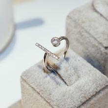 Женское Винтажное кольцо с цирконом роскошное серебристого цвета